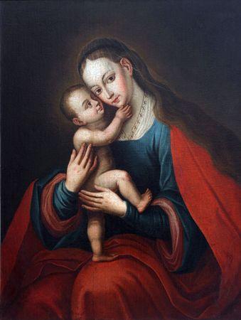 virgen maria: Sant�sima Virgen con el ni�o Jes�s  Foto de archivo