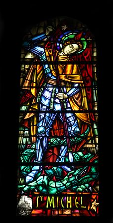 Saint Michael, stained glass in the Cathedral of St Vincent de Paul in Tunis photo