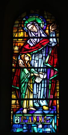 Saint Ann, stained glass in the Cathedral of St Vincent de Paul in Tunis photo