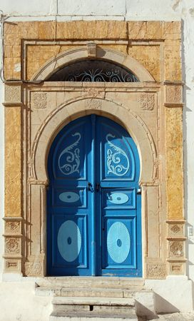 and tradition: Traditional door from Sidi Bou Said, Tunis