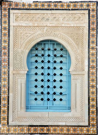 Traditional window from Kairouan, Tunisia Stock Photo