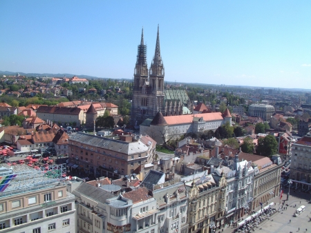 Zagreb panorama with cathedral
