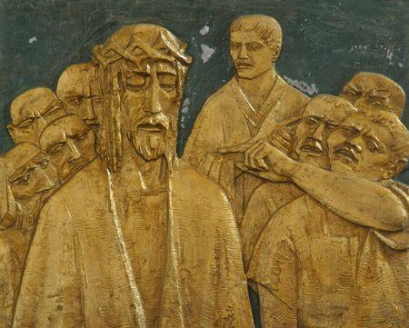 cruz de jesus: primera estaci�n de la Cruz, Jes�s es condenada a muerte  Foto de archivo