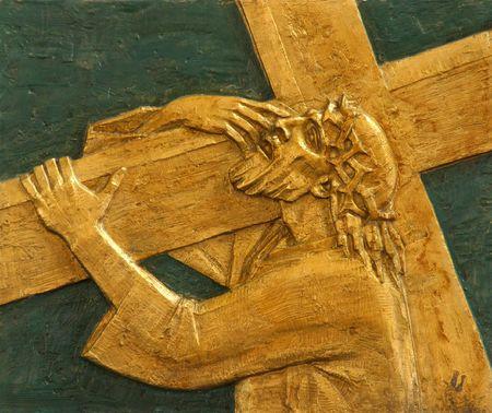 cruz de jesus: estaci�n de 2 � de la Cruz, Jes�s es dada su Cruz
