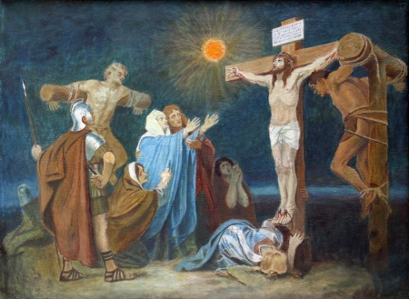 crucis: 12th Station of the Cross, Crucifixion  Jesus is nailed to the cross Editorial