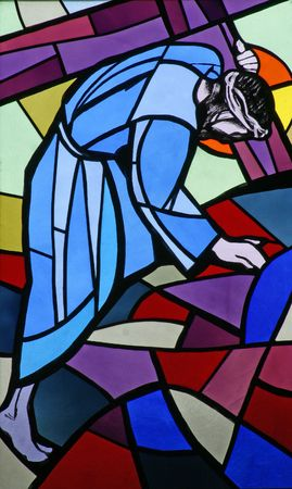 7th Stations of the Cross, Jesus falls the second time Stock Photo