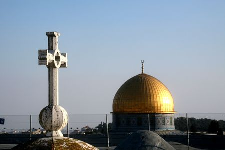 faiths: Jerusalem symbols of faiths Stock Photo