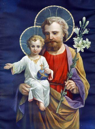 saint joseph: Saint Joseph with child Jesus