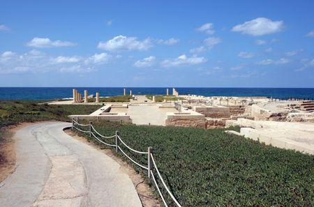 caesarea: Detail of ancient city Caesarea from Israel Stock Photo