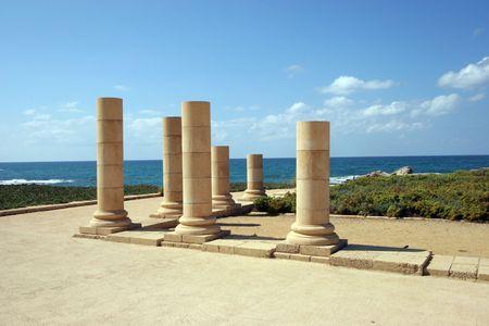 caesarea: Antique marble pillars in Caesarea Stock Photo