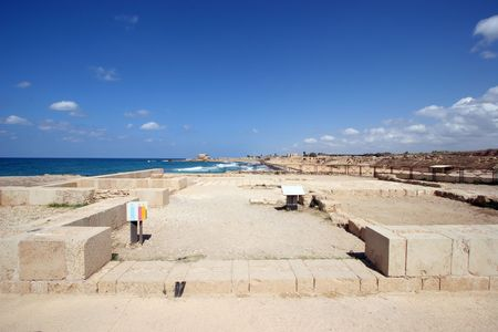 Detail of ancient city Caesarea from Israel photo
