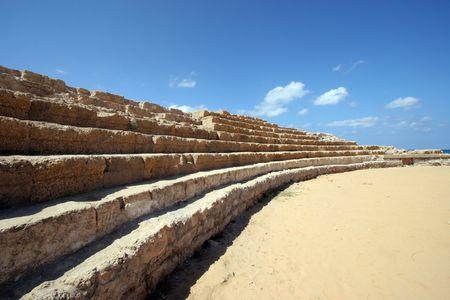 caesarea: Ancient Roman hippodrome in Caesarea, Israel