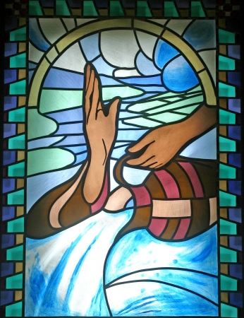 stained glass church: Baptism