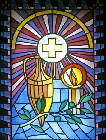 stained glass windows: Anointing of the Sick
