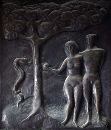 adam: Adam and Eve, Illustrations of stories from the Bible on doors Basilica of the Annunciation in Nazareth