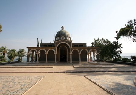 The Church Of The Beatitudes was built on a hill overlooking the Sea of Galilee and is the accepted site where Jesus preached the Sermon on the Mount. Stock Photo