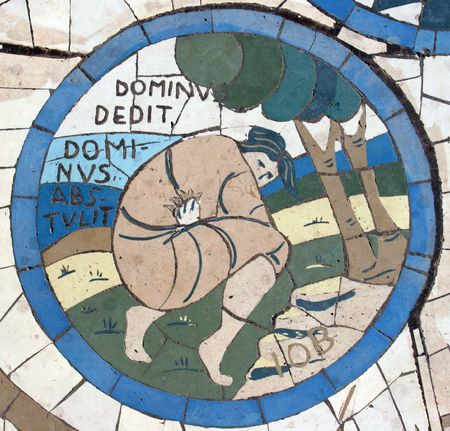 the sermon: Job, Mosaic in front of the church on the Mount of Beatitudes
