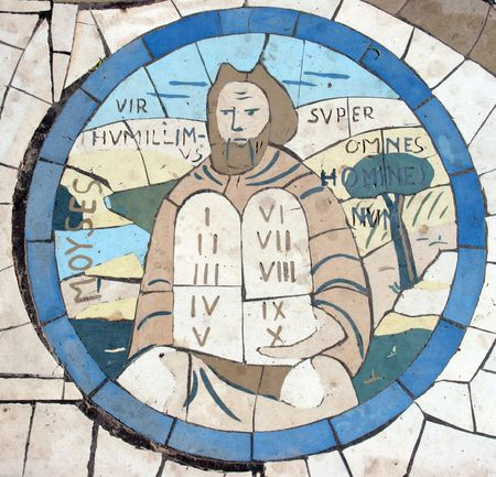 bible ten commandments: Moses holding the Ten Commandments, Mosaic in front of the church on the Mount of Beatitudes