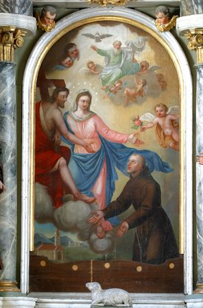 Our Lady of the Angels, painting at the church altar