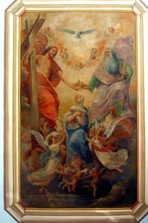 coronation: Coronation of Virgin Mary, painting at the church altar