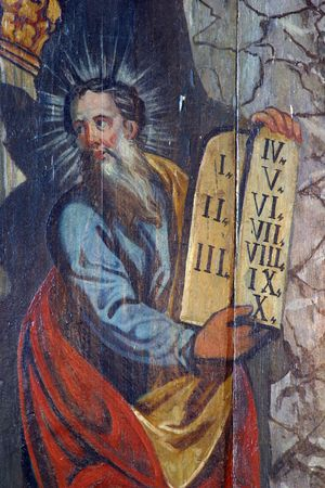 bible ten commandments: Moses, painting at the church altar