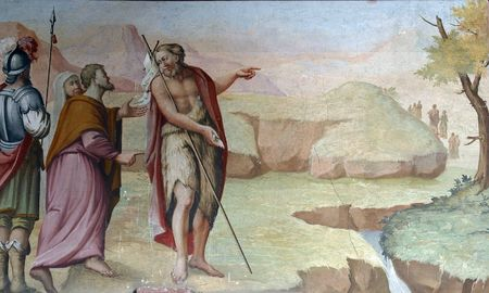 baptist: Saint John the Baptist, fresco paintings in the church Editorial