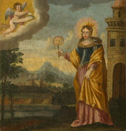 barbara: Saint Barbara flees from her father, painting at the church altar Editorial