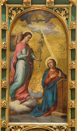 The Annunciation, painting at the church altar