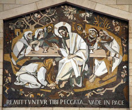 maria: Maria Magdalena w�scht die F��e von Jesus, Basilika der Verk�ndigung in Nazareth
