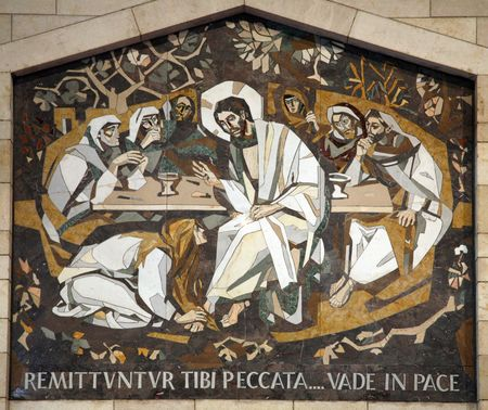 nazareth: Mary Magdalene washes the feet of Jesus, Basilica of the Annunciation, Nazareth Editorial