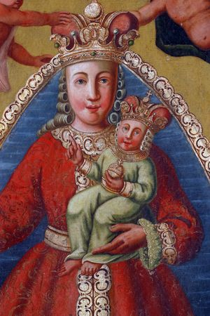 Blessed Virgin Mary with baby Jesus, painting at the church altar