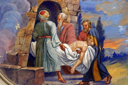 Jesus is laid in the tomb 에디토리얼