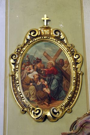 crucis: 8th Stations of the Cross, Jesus meets the daughters of Jerusalem Stock Photo