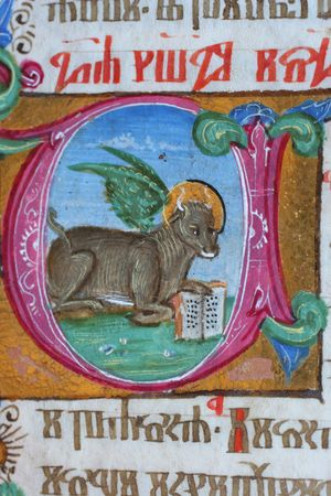 holy book: St. Luke the Evangelist, Close up of old Holy Bible book