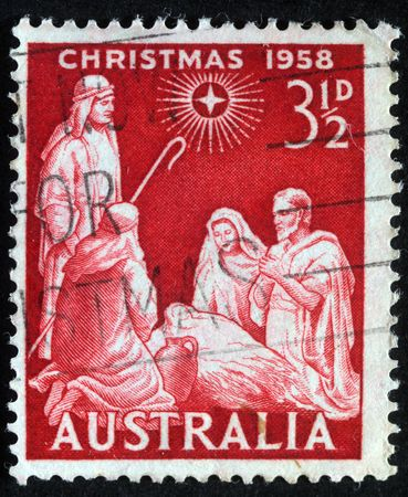 AUSTRALIA - CIRCA 1958 : A greeting Christmas stamp printed in Australia shows birth of Jesus Christ, circa 1958  photo