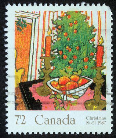 CANADA - CIRCA 1987: A greeting Christmas stamp printed in Canada, circa 1987 photo