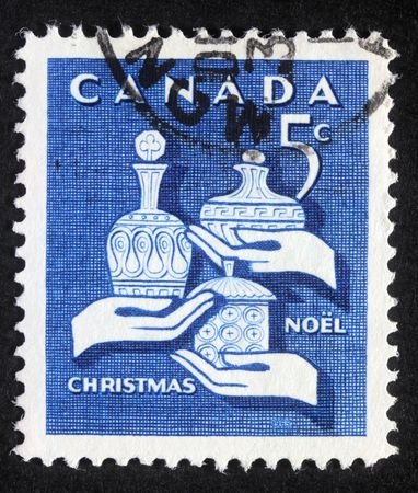 CANADA - CIRCA 1980: A greeting Christmas stamp printed in Canada, circa 1980 Stock Photo - 8126915