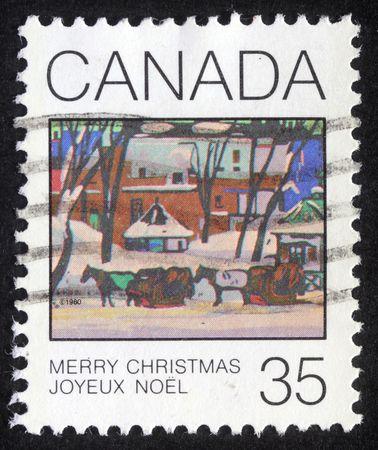 CANADA - CIRCA 1980: A greeting Christmas stamp printed in Canada, circa 1980 photo