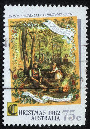 memling: AUSTRALIA - CIRCA 1982 : A greeting Christmas stamp printed in Australia, circa 1982
