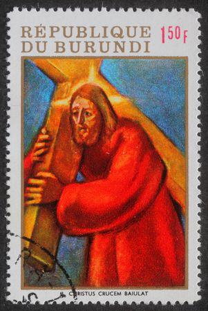BURUNDI - CIRCA 1980: Stamp printed in Burundi shows Stations of the Cross, circa 1980 photo