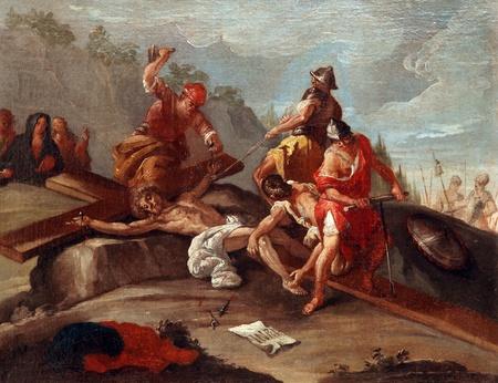 11 staties van de kruisweg, de kruisiging Jezus aan het kruis genageld Redactioneel