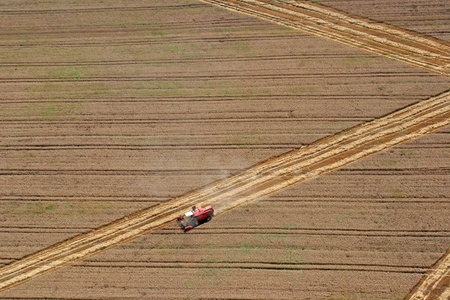 Aerial View : combine harvester working in the fields photo