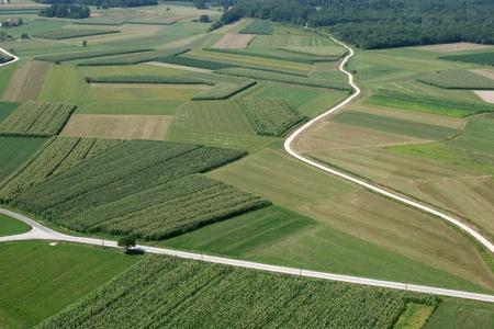vysoký úhel pohledu: Meadows and fields. Aerial image
