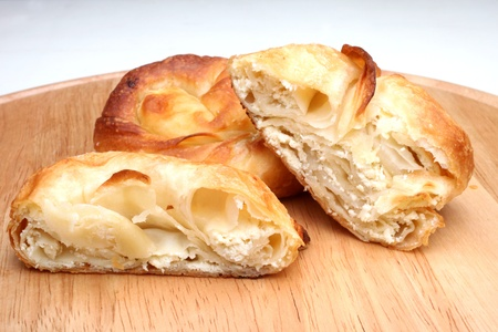 Burek (pie with cheese) is traditional Balkanian meal photo