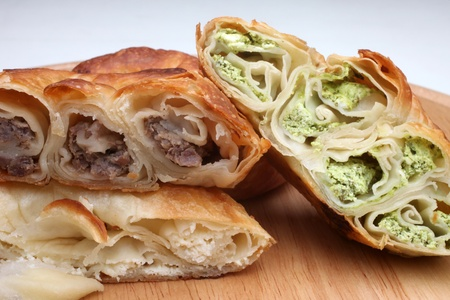 the balkan: Burek (pie with meat, cheese or spinach) is traditional Balkanian meal