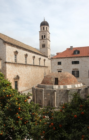 franciscan: Dubrovnik Old City, Franciscan Monastery and Big Onofrio fountain Stock Photo