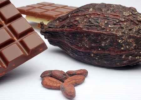 Cocoa pods and beans Stock Photo