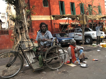 outcast: KOLKATA, INDIA -JANUARY 24: Streets of Kolkata. Thousands of beggars are the most disadvantaged castes living in the streets, January 24, 2009.