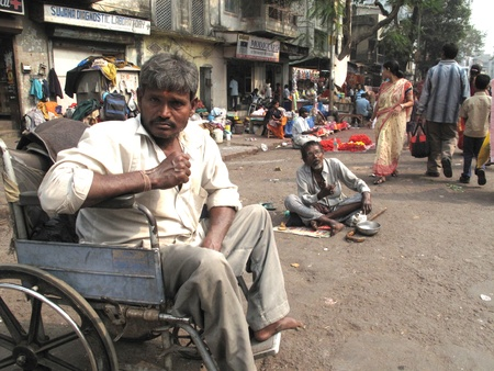 slum: KOLKATA, INDIA -JANUARY 24: Streets of Kolkata. Thousands of beggars are the most disadvantaged castes living in the streets, January 24, 2009. Editorial