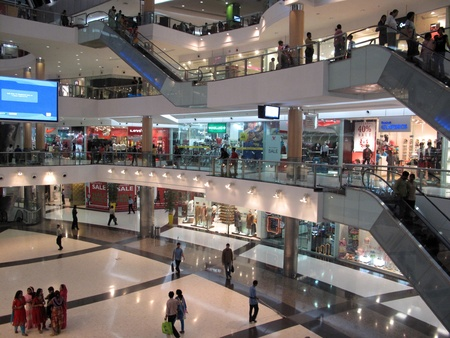 center court: KOLKATA; INDIA - JANUARY 28: South City mall is an enclosed urban food court, shopping mall and office building on January 28, 2009 in Kolkata, India                                 Editorial